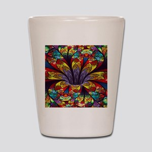 Fractal Stained Glass Bloom Shot Glass