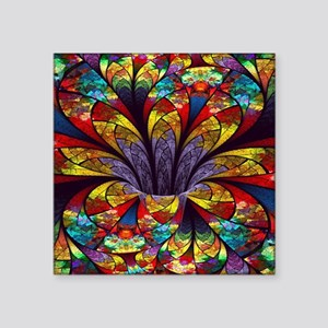 "Fractal Stained Glass Bloom Square Sticker 3"" x 3"""
