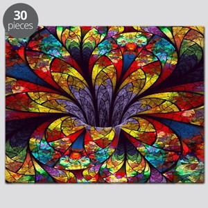 Fractal Stained Glass Bloom Puzzle