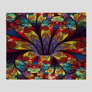Fractal Stained Glass Bloom Throw Blanket