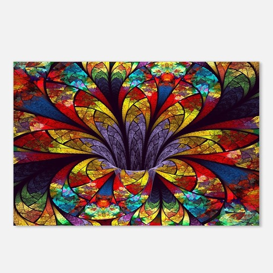Fractal Stained Glass Blo Postcards (Package of 8)