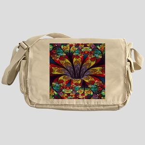Fractal Stained Glass Bloom Messenger Bag