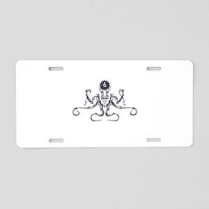 Steampunk Silver Octopus Aluminum License Plate