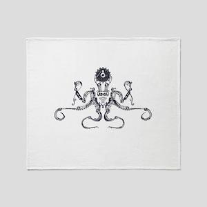 Steampunk Silver Octopus Throw Blanket