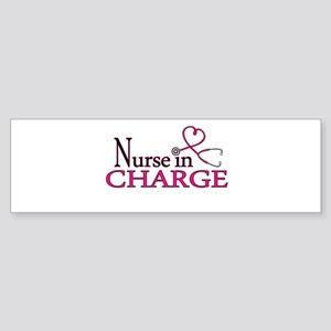 Nurse in Charge - Pink Sticker (Bumper)