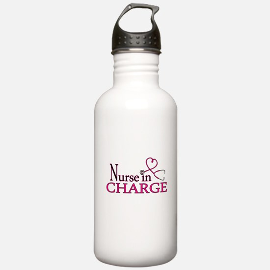 Nurse in Charge - Pink Water Bottle