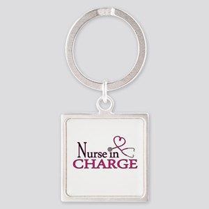 Nurse in Charge - Pink Square Keychain