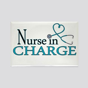 Nurse in Charge - Blue Rectangle Magnet