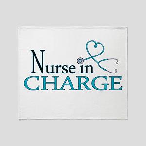 Nurse in Charge - Blue Throw Blanket