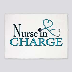 Nurse in Charge - Blue 5'x7'Area Rug