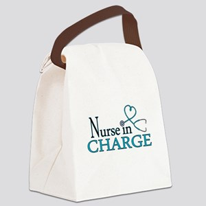 Nurse in Charge - Blue Canvas Lunch Bag