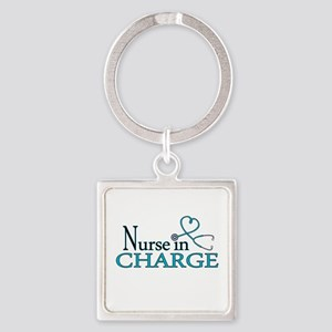 Nurse in Charge - Blue Square Keychain
