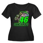 Cian46 Women's Plus Size Scoop Neck Dark T-Shirt