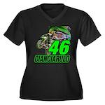 Cian46 Women's Plus Size V-Neck Dark T-Shirt