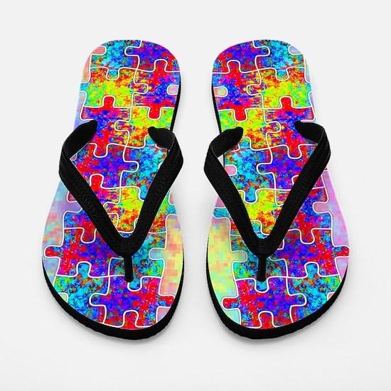 Autism Colorful Puzzle Pieces Flip Flops