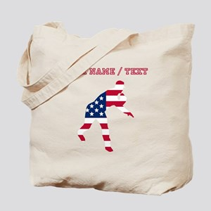 Custom Baseball Pitcher American Flag Tote Bag