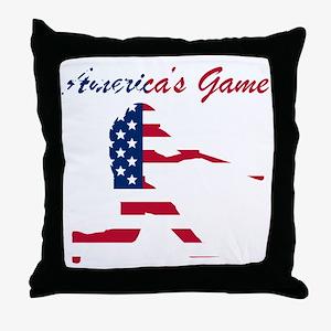 Baseball Batter Americas Game Throw Pillow