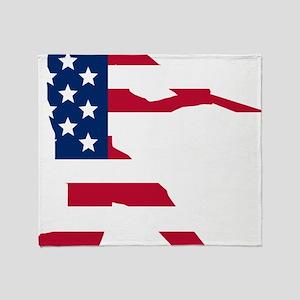 Baseball Batter American Flag Throw Blanket