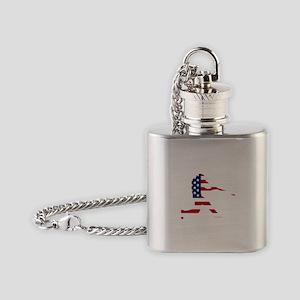 Baseball Batter American Flag Flask Necklace