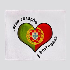 Portuguese heart Throw Blanket