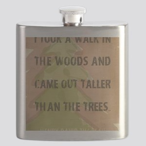 Thoreau Walk In The Woods Quote Flask