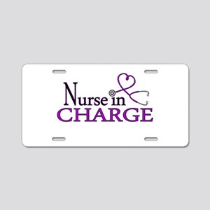 Nurse in Charge - Purple Aluminum License Plate
