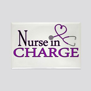 Nurse in Charge - Purple Rectangle Magnet