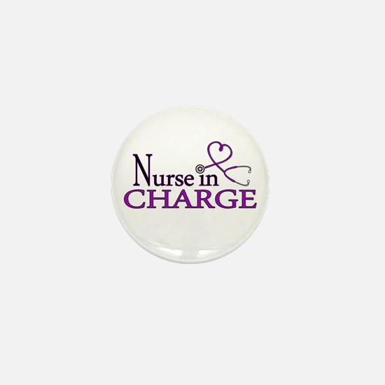 Nurse in Charge - Purple Mini Button