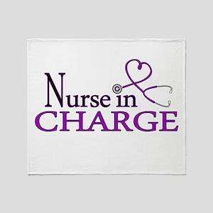 Nurse in Charge - Purple Throw Blanket