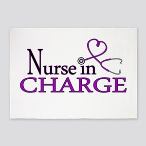 Nurse in Charge - Purple 5'x7'Area Rug