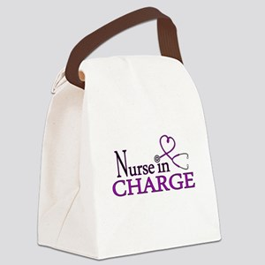 Nurse in Charge - Purple Canvas Lunch Bag