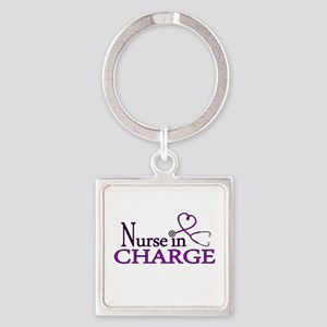 Nurse in Charge - Purple Square Keychain