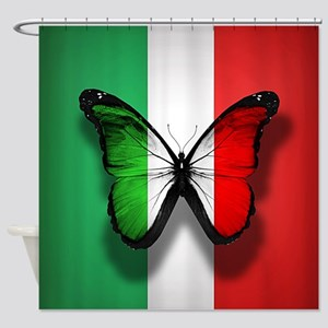 Italian Flag Butterfly Shower Curtain
