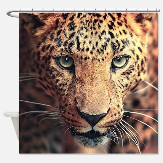 Leopard Portrait Shower Curtain