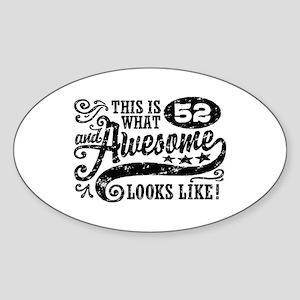 52nd Birthday Sticker (Oval)