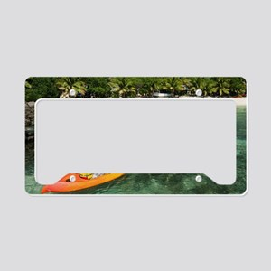 Kayaker in colourful yellow k License Plate Holder