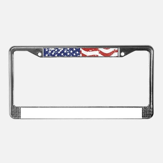 American Flag Waving distresse License Plate Frame