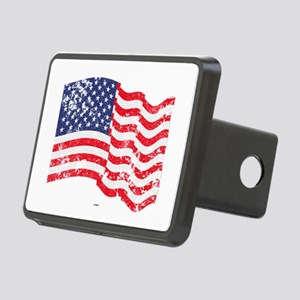 American Flag Waving distr Rectangular Hitch Cover