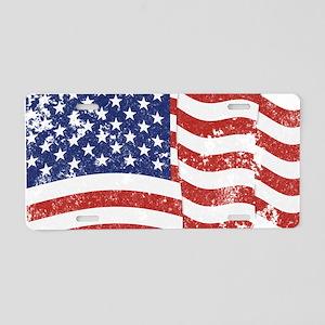 American Flag Waving distre Aluminum License Plate