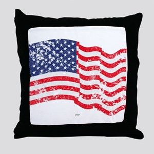 American Flag Waving distressed Throw Pillow