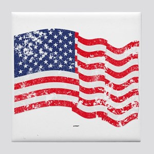 American Flag Waving distressed Tile Coaster
