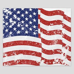 American Flag Waving distressed King Duvet
