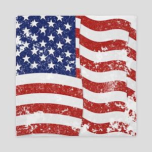 American Flag Waving distressed Queen Duvet
