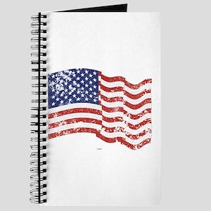 American Flag Waving distressed Journal