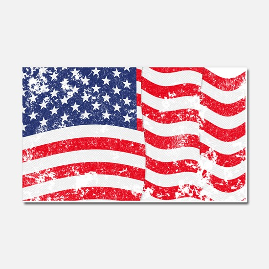American Flag Waving distressed Car Magnet 20 x 12