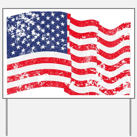 American Flag Waving distressed Yard Sign