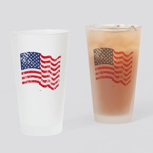 American Flag Waving distressed Drinking Glass