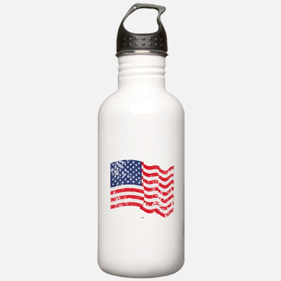 American Flag Waving d Water Bottle