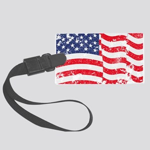 American Flag Waving distressed Large Luggage Tag