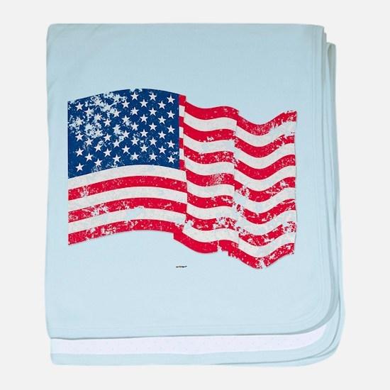 American Flag Waving distressed baby blanket